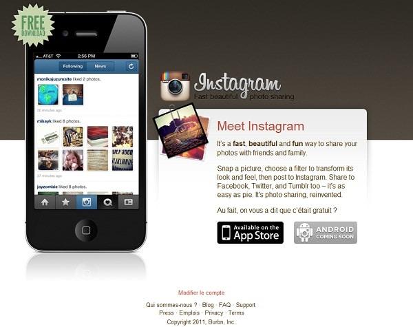 accueil application instagram retouche et partage de photos