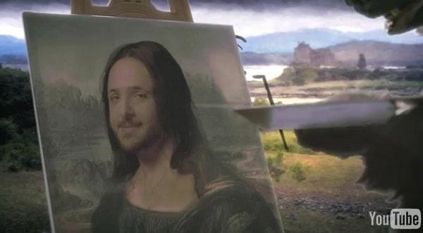 L'ours Tipp-Ex peint le chasseur en Mona Lisa